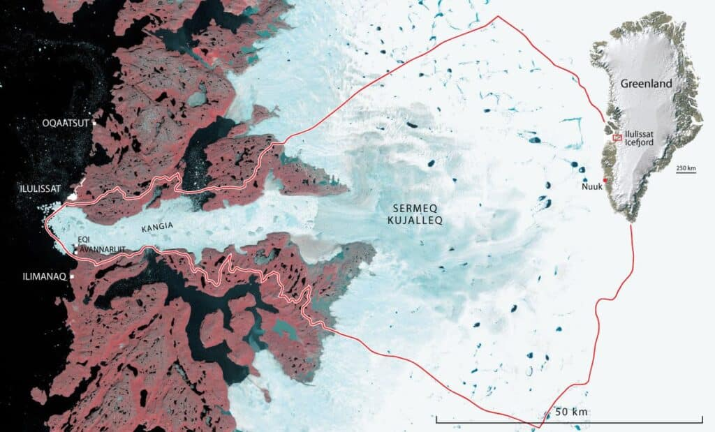 From GEUS: Map of Ilulissat Icefjord and surrounding region. The red line marks the limit of the World Heritage Site.