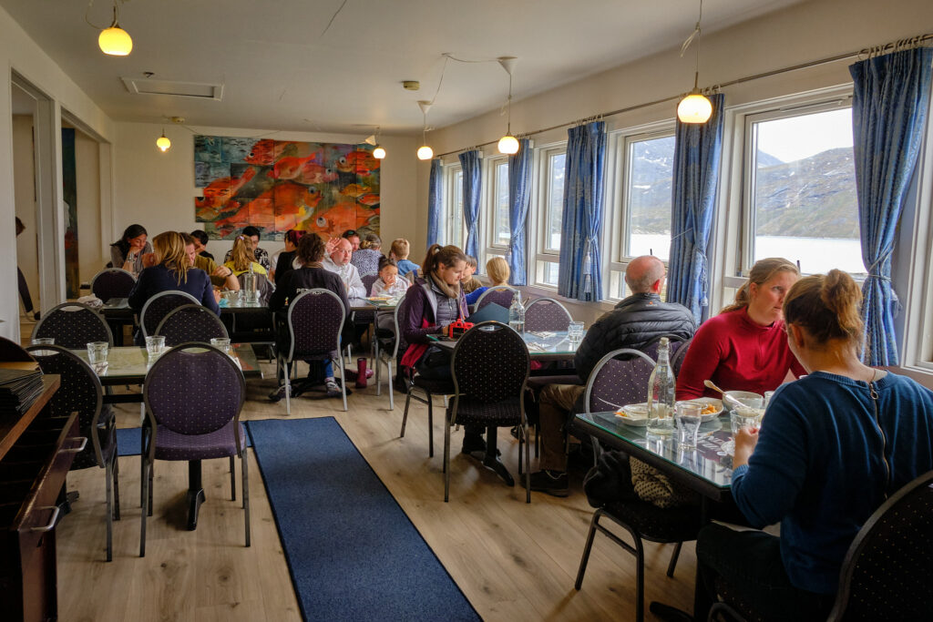 Interior of Qooqqut Nuan restaurant in the Nuuk Fjord - Guide to Greenland