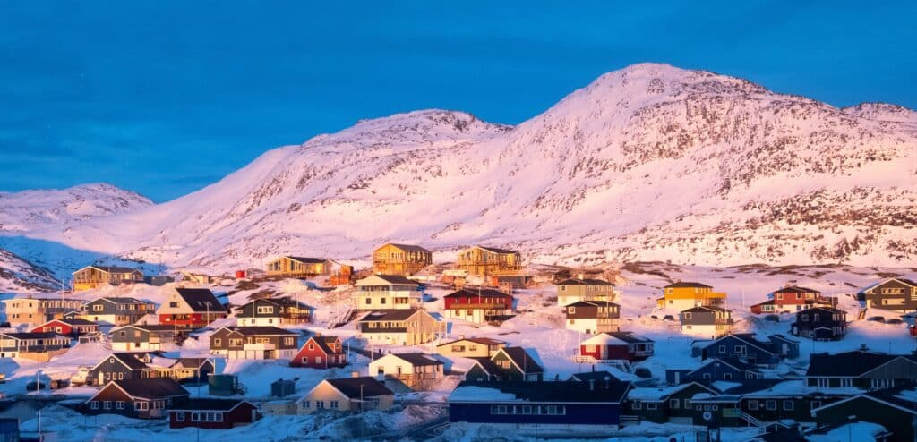 Sunset over Store Malene from central Nuuk - winter - Guide to Greenland