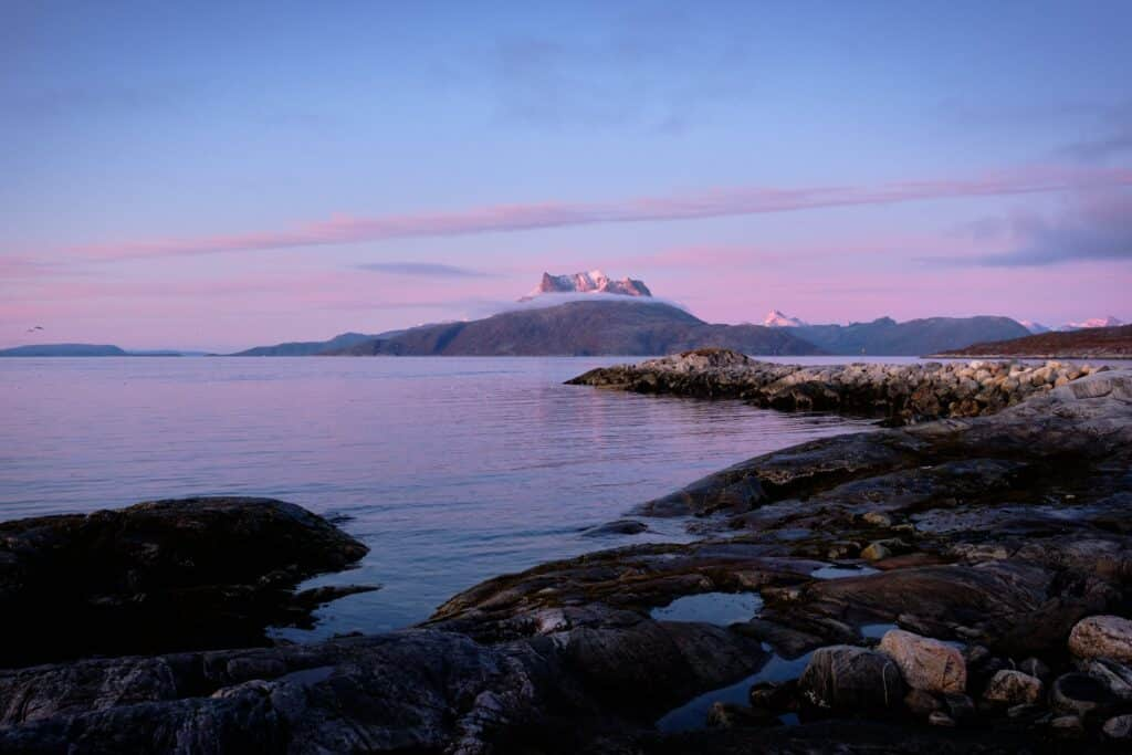 Sermitsiaq mountain at dusk from nuuk guide to greenland