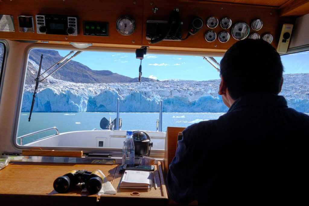 Approaching the glacier that blocks the end of the Eternity Fjord near Maniitsoq - Guide to Greenland