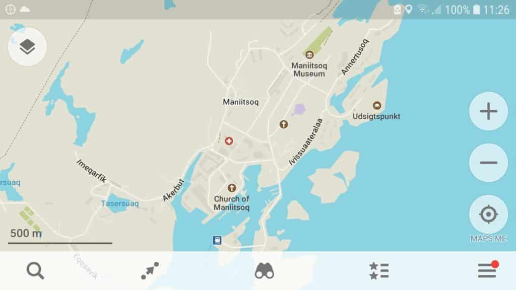 MapMe map of center of Maniitsoq - West Greenland