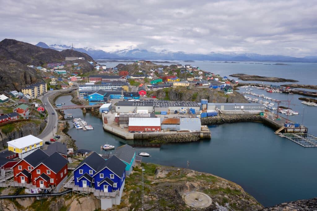 Scenic viewpoint over the town of Maniitsoq, Greenland