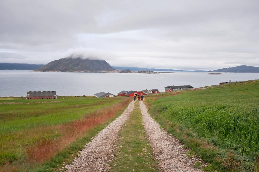 Heading back to the farm buildings at Upernaviarsuk research station near Qaqortoq