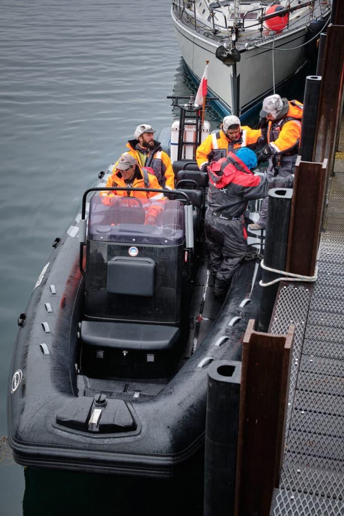 RIB open boat to take us to Hvalsey Church - Qaqortoq