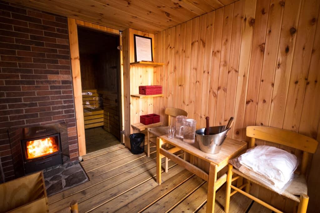Anteroom of the Arctic Sauna Spa at the Hotel Sismiut