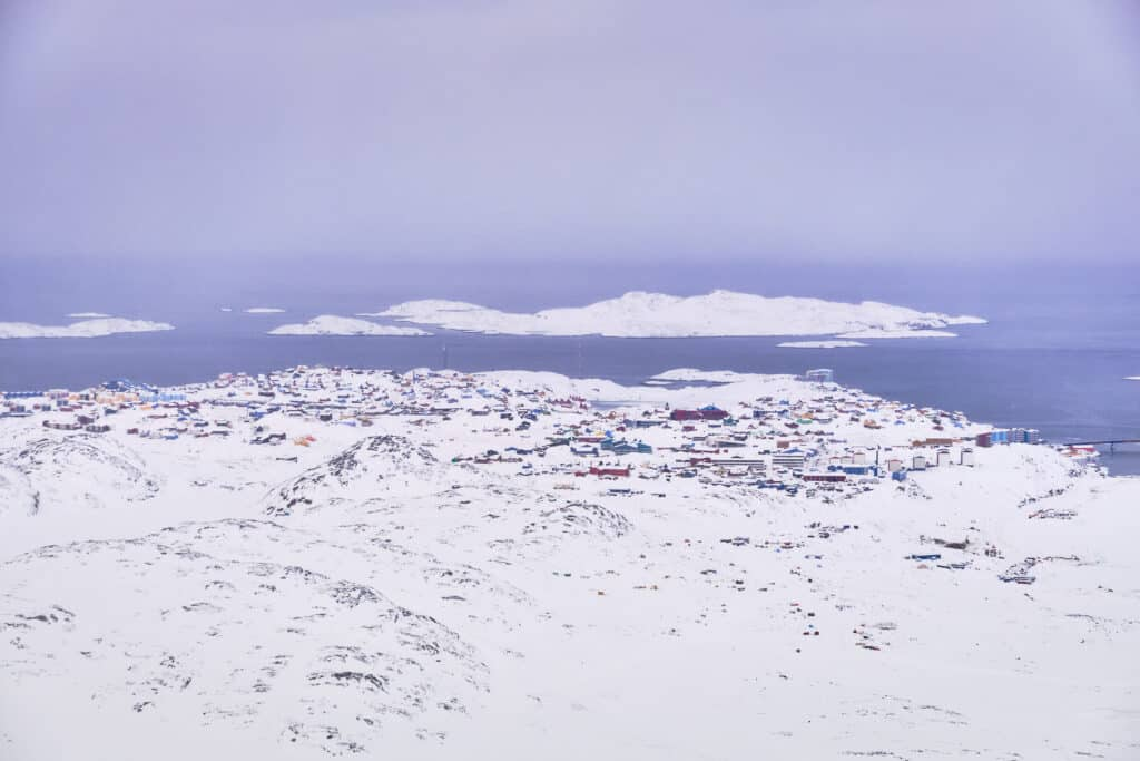 Colourful houses of Sisimiut as seen from the ski center viewpoint