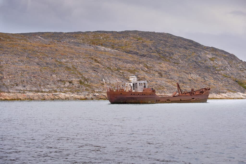 Derelict and grounded ship near Aasiaat