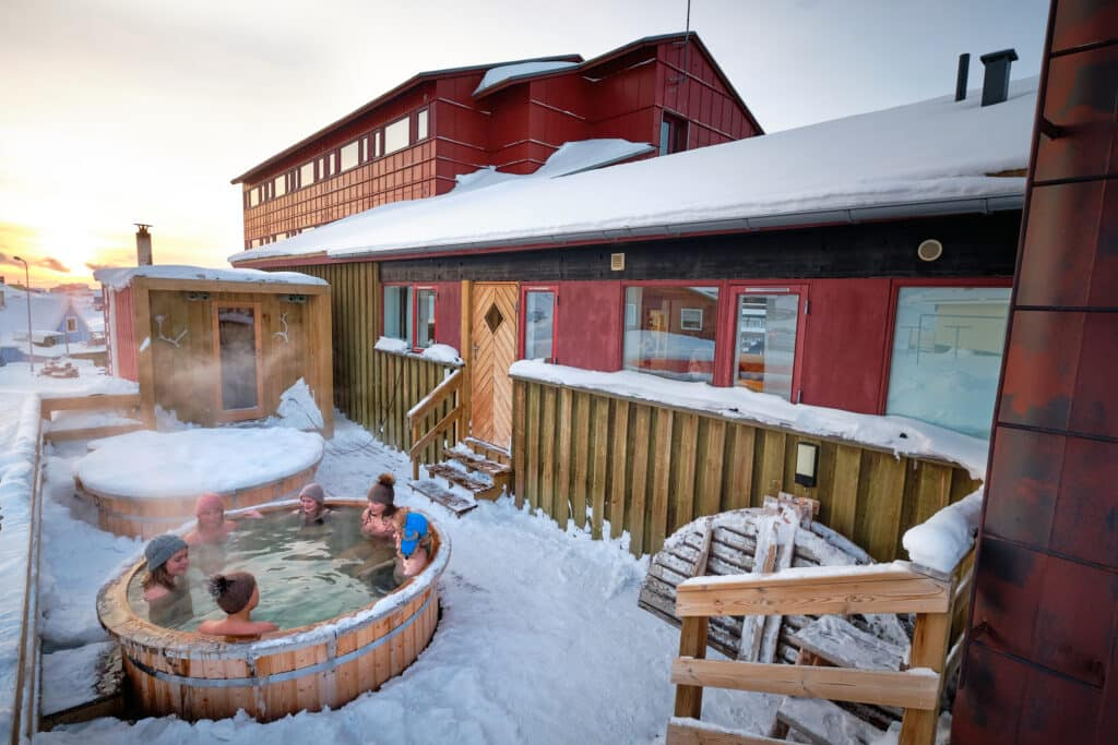 High view of the Arctic spa on the terrace of the Hotel Sisimiut