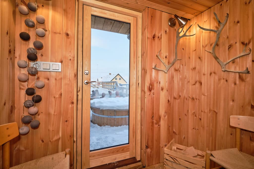 Looking out the door of the Arctic Sauna Spa at the Hotel Sismiut