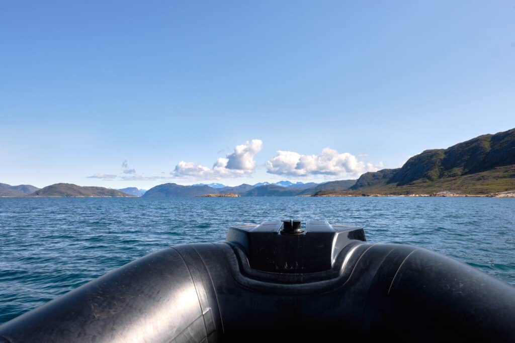 Sailing to Uunartoq Hot Spring near Qaqortoq on a RIB
