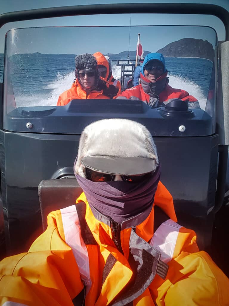 Sitting in the front of the RIB on the way to the Uunartoq Hot Spring near Qaqortoq