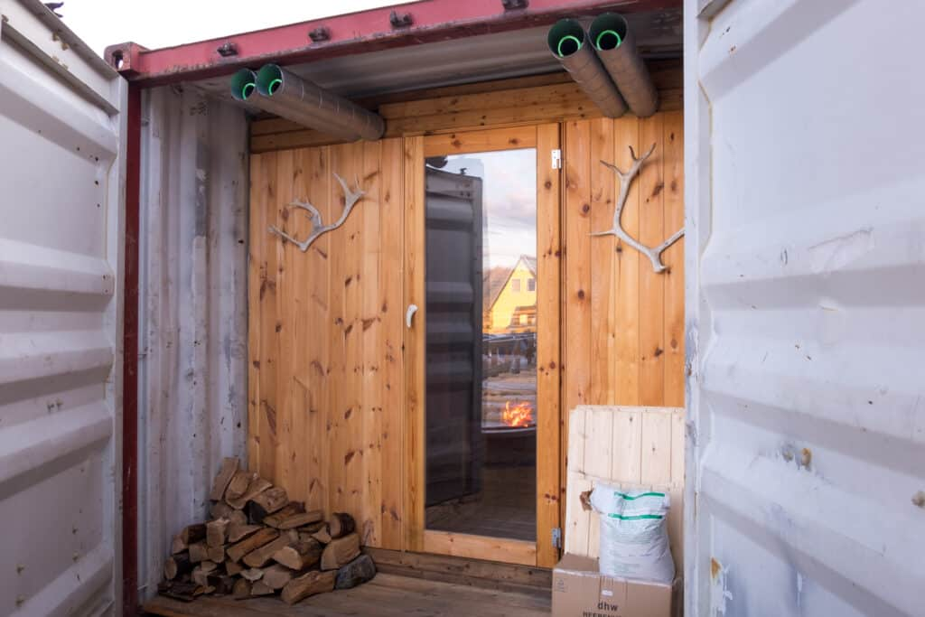 The entrance to the Arctic Sauna Spa at the Hotel Sisimiut