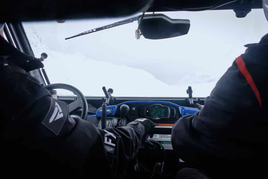View from inside the monster snowmobile in Sisimiut