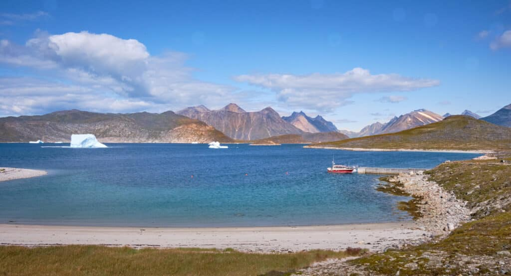 View of the dock at Uunartoq Hot Spring near Qaqortoq