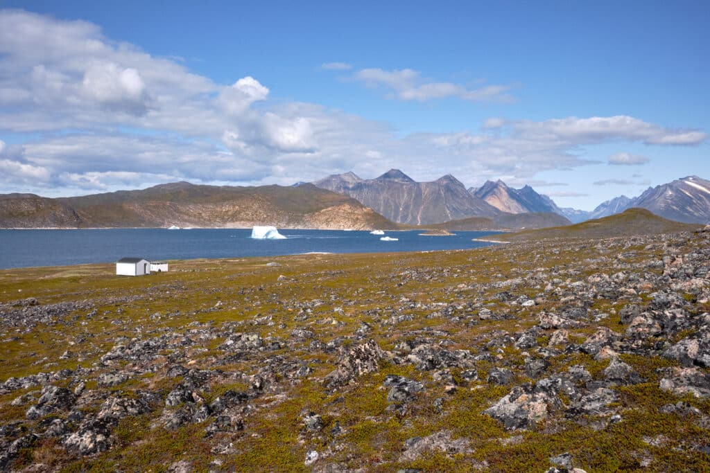 View over the Uunartoq Hot Spring and fjord near Qaqortoq