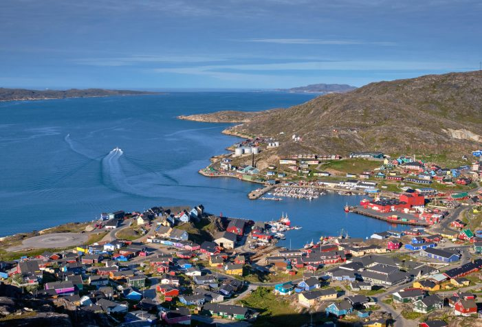 Aerial view of Qaqortoq from a high mountain viewpoint - summer - Guide to Greenland
