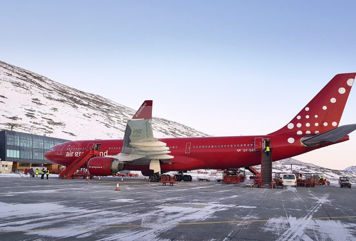 Norsaq-Air-Greenland-Airbus-in-Kangerlussuaq-at-the-terminal-transportation-Guide-to-Greenland
