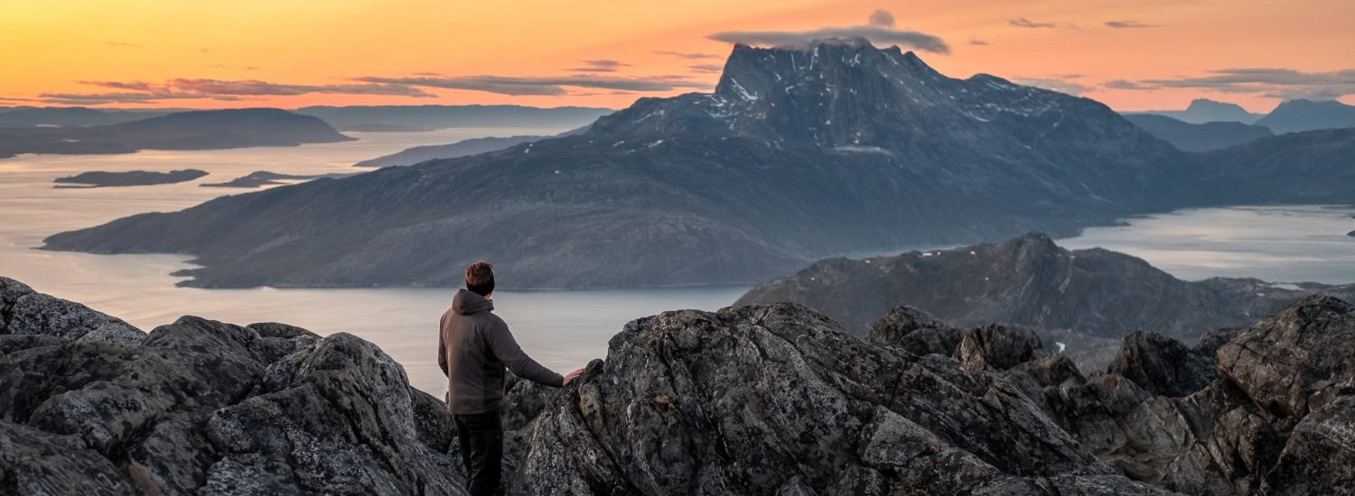 Per-Roe-View-of-Sermitsiaq-from-the-top-of-Store-Malene-at-Sunset-near-Nuuk-summer-Greenland