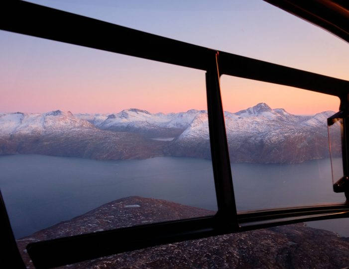 nuuk-scenic-helicopter-summit-flight-at-sunset-spectacular-colours-out-the-window-of-the-helicopter-summer-Guide-to-Greenland