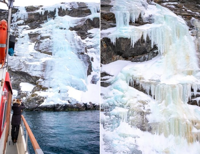 the-frozen-sermitsiaq-waterfall-in-march-from-a-nuuk-fjord-tour - Guide to Greenland